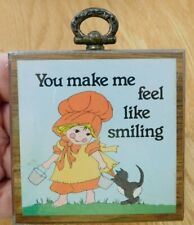 Vintage Small Wooden Wall Plaque~GIRL WITH CAT~You Make Me Feel Like Smiling~NEW