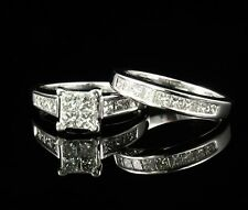 ZALES NATURAL 1.75ctw DIAMOND 14K WHITE GOLD WEDDING BAND & ENGAGEMENT RING SET