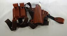 TAGUA Brown Leather LH Shoulder Holster W/ Dual Mag. Carrier SH4-218 T2