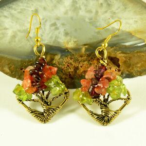 Peridot Garnet Carnelian Tree Of Life Earrings Antiqued Brass Wire Wrapped