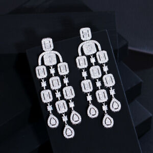 Gorgeous White CZ Long Tassel Dangle Drop Wedding Bridal 925 Silver Earrings