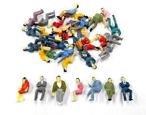 50 Pcs 1:50 Scale O Gauge ALL Seated People sitting figures Model Train Layout