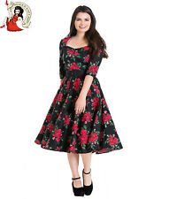 HELL BUNNY 50's ETERNITY DRESS rockabilly FLORAL vintage BLACK