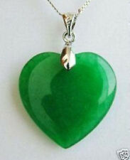 Green Jade Heart Shape Silver emerald Pendant /necklace