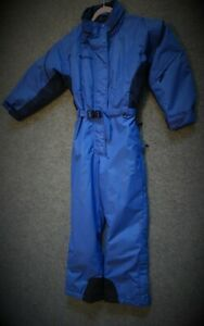 COLUMBIA Women's Sz L (or M) One-piece SNOWSUIT Hooded Belted Royal Blue XLNT