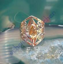 Ring Zitrin Citrin gelb Stein des Sternzeichen Löwe florales Ornament Silber 925