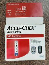 100 Accu Chek Aviva Glucose Test Strip 6/21 Exp 06/2021 OPEN
