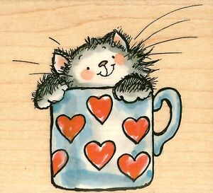 Cat Brimming With Love Heart Cup Wood Mounted Rubber Stamp PENNY BLACK 4032J New