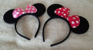 Black Mouse Ears With Spotted Bow on an Alice Band - Choice of 2 Colours