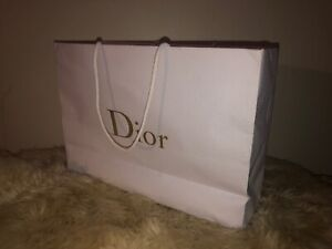 "Christian DIOR Logo Textured Shopping Gift Paper Bag White 16.5"" x 12"" x 5"""