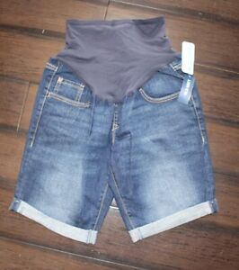 Old Navy Maternity Dark Wash Full Panel Roll Up Jean Shorts Size 4 NWT