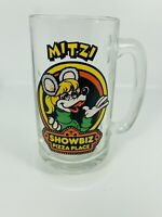 Vintage Mitzi Show Biz Pizza Place Glass Cup Beer Stein Mug w/ Handle 1980s EUC!