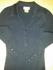 TALBOTS Womens Dark Blue Stretch Knit 1/2 Button Down Long Sleeve Top Sz. P