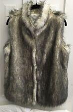 Emma G Faux Fur Vest White w/ Black/Grey Tips Women's Size L Warm Sexy Lined