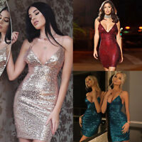 Sequins Womens Bandage Bodycon Sleeveless Evening Party Cocktail Club Mini Dress