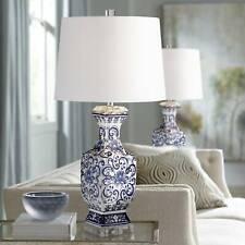 Asian Table Lamp Set of 2 Porcelain Blue Floral Jar for Living Room Bedroom