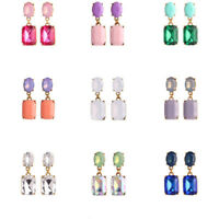 Women Girl Mini Geometry Square Rhinestone Crystal Drop Dangle Ear Stud Earrings