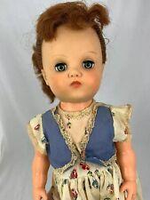 "Horsman Vintage Doll Red Brown Hair Green Eyes Plastic 20"" Flower Dress HG9"