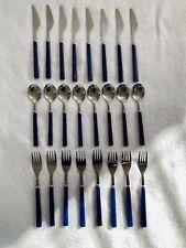 24 Piece Anacapa Blue Handle Melamine Stainless Steel Flatware Spoon Knife Fork