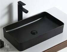 Hometure Above Ceramic Rectangular Mate Black Vessel Bathroom Sink