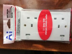 AI(alpha+international) Double Socket with 2 USB Ports 13A Switched Twin Socket