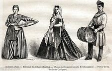 Genova: Costumi Genovesi:Venditrice di Farinata,Genovese con Mazzero,Vinaio.1877
