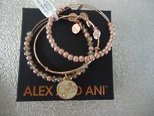 Alex and Ani CHAMPAGNE CHEERS SET Of 3 Bangles Shiny Rose New W/Tag Card & Box