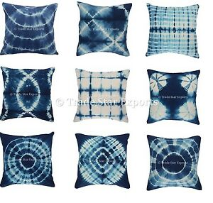 Indigo Shibori Pillow Case 16x16 Tie Dye Cushion Cover Handmade Pillows 2 Pcs