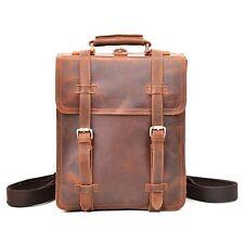 Vintage Backpack GENUINE LEATHER Brown Rucksack for Laptop Men's Messenger Bag