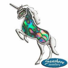 Unicorn Brooch Paua Abalone Shell Badge Womens Silver Fashion Jewellery Gift