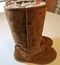 UGG Australia boots classic tall logo 5808 Leather brown Womens W7 W 7 **hole