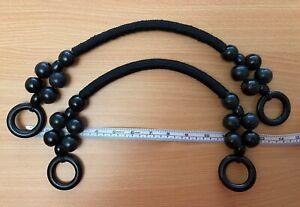 Pair (2) Black Rope & Wood Bead Bag Handles for Knitting or Sewing