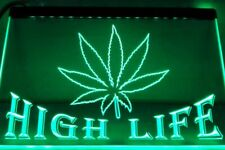 High Life Green LED Neon Bar Sign Home Light up Pub Smoke Lager Drink Weed Gange