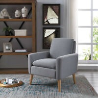 Arm Chair Tufted Back Fabric Upholstered Accent Chair Single Sofa Wood Leg Gray