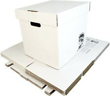 "(5) 12"" White Record Boxes with Lids - LP Vinyl Album 33rpm Cardboard Storage"