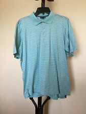 New Men's FAIRWAY GREENE Short Sleeve cotton Blue Stripe Golf Shirt Top Size M