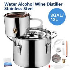 New listing Bn 3 Gallon 12L Alcohol Water Distiller Moonshine Still Boiler Stainless Copper