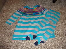 HANNA ANDERSSON 80/90 BLUE STRIPED SWETAER STYLE DRESS TIGHT SET