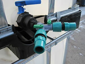 IBC Cap and Two Way Tap Garden Hose Hoselock Fitting
