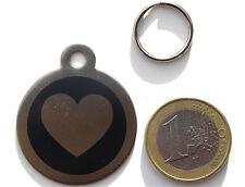 MEDAILLE gravée coeur noir CHIEN collier harnais