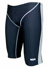 Men Male Training Racing Competition Swimwear Jammer Trunk  Splice Size 32 / XL