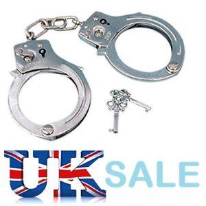 Kids Toy Metal Handcuffs Hand Cuffs Police Fancy Dress Children Pretend Play HGL