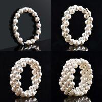 Wedding Bridal Pearl Crystal Rhinestone 5 Rows Elastic Bangle Bracelet Wristband
