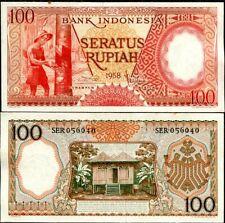 Indonesia 100 Rupiah 1958 P 59 Unc W Little Tone