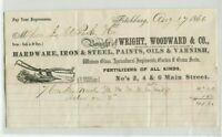 Vintage Illustrated Billhead WRIGHT WOODWARD HARDWARE Fitchburg 1866 plow image