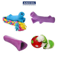 Ancol Rubber Chew Toys Knuckle Bone Strong Durable Rope Ball Plush Teething