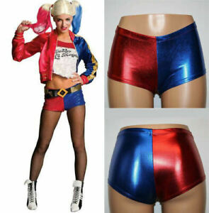New Ladies Halloween Cosplay Harley Quinn Shorts Suicide Squad Shiny HOT Pant UK
