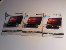 3 ONN 64GB USB 2.0 Flash Drive Portable Storage Device Black