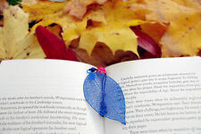Art Metal Bookmark Blue leaf with Imperial Marble pendant XMAS and All occasion