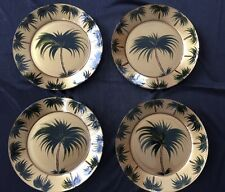 "Tropical Palm Trees Tiki Gold Green 8"" Dessert Salad Plates Set 4 Arcoroc France"